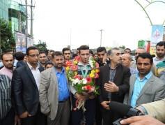 مراسم استقبال از قهرمان مدال طلای مسابقات آسیایی در شهر چمستان برگزار شد